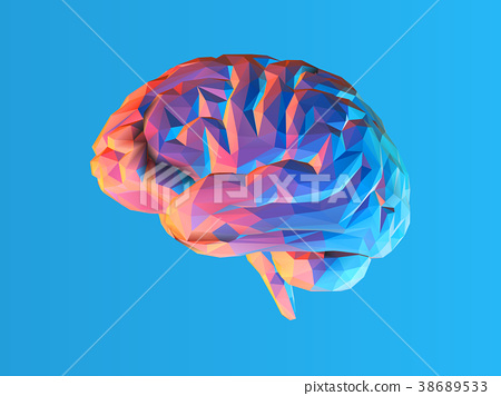 Low poly brain illustration isolated on blue BG 38689533