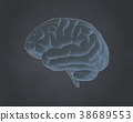 Brain illustration on blackboard BG style 38689553