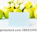 Apples pastel green yellow background blank card 38691040
