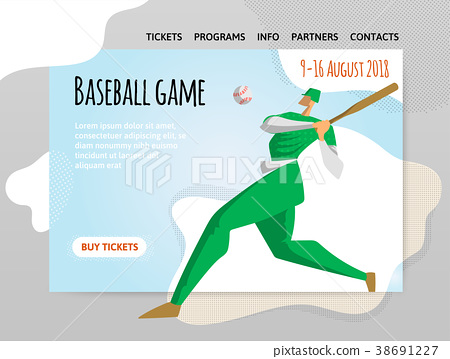 Baseball player with bat. Vector illutration 38691227