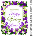 Vector Happy springtime flowers seasonal poster 38694726