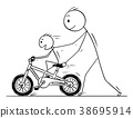 Cartoon of Father and Son Learning to Ride a Bike 38695914