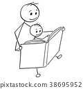 Cartoon of Father and Son Reading a Book Together 38695952