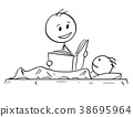 Cartoon of Father Reading Bedtime Story or Book to 38695964