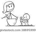 Cartoon of Mother and Son Cooking or Baking 38695999