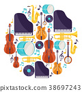 Background with musical instruments. Jazz music 38697243