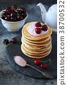 Pancakes with cherry yoghurt and fresh cherries 38700532