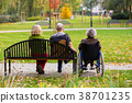 family in the park sitting on a bench 38701235