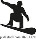 Silhouette of a snowboarder 38701370