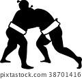 Sumo wrestling fight silhouette 38701416