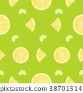 Lemon, orange fruits seamless pattern background 38701514
