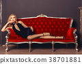 woman, dress, couch 38701881