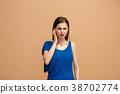 The Ear ache. The sad woman with headache or pain 38702774