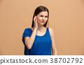 The Ear ache. The sad woman with headache or pain 38702792