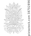 Floral ornament mehendi eye and leaves 38702896