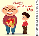 Grandparents day greeting card. 38703175