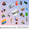 Railway Station Isometric Flowchart 38703643