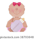 Baby girl with baby bottle in nappy origami 38703648