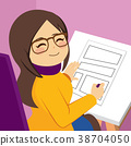 Woman Drawing Comic 38704050