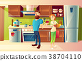 Vector cartoon happy couple in a modern kitchen 38704110