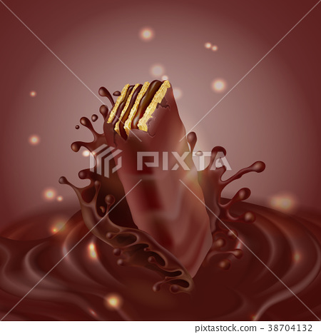Vector banner with chocolate waffle and splash 38704132