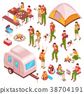 Picnic Barbecue Isometric Icons  38704191