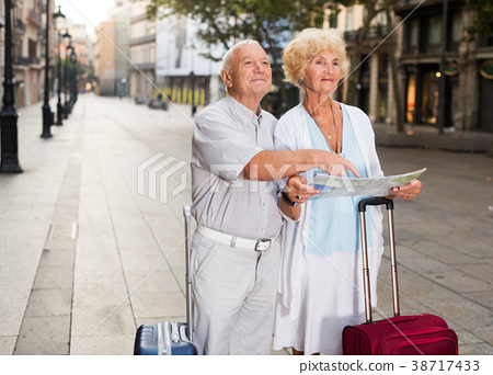 travellers with suitcases visiting sights of European city 38717433