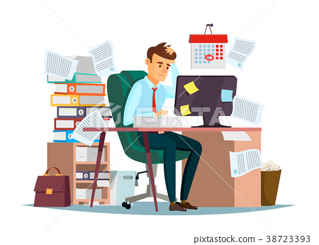 Man overwork in office vector illustration of 38723393