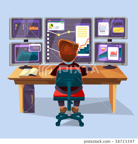 Vector cartoon trader, financial analyst workplace 38723397