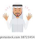 穿著民族服裝的阿拉伯男人正在伸手 38723454