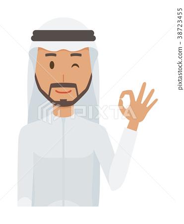 身著民族服裝的阿拉伯男人給人留下了印記 38723455