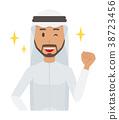 穿著民族服裝的阿拉伯男子舉起拳頭 38723456