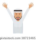 身著民族服裝的阿拉伯男子正在舉手 38723465
