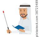 民族服裝的阿拉伯男人有一根棍子 38723489
