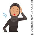 民族服裝的阿拉伯婦女很累 38723620