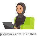 全國禮服的阿拉伯婦女坐沙發並且與膝上型計算機一起使用 38723646