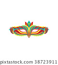 Colorful flat vector icon of beautiful masquerade 38723911