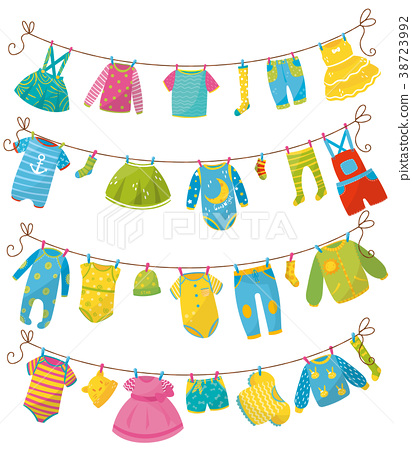 Flat vector set of kids clothes on rope. Apparel 38723992