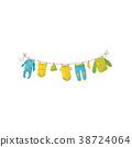 Cute children s garment hanging on rope. Baby 38724064
