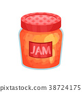 Transparent glass jar with apple jam. Bank with 38724175
