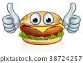 Burger Food Thumbs Up Cartoon Character Mascot 38724257
