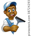 Window Cleaner Cartoon Character 38724293