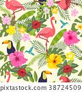 bird, tropical, flower 38724509