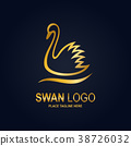 Swan icon design template. Golden swan icon 38726032