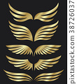 Golden wings collection on dark background 38726037