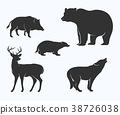 Silhouette of wild animal collection 38726038
