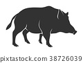 Silhouette of warthog isolated on white background 38726039