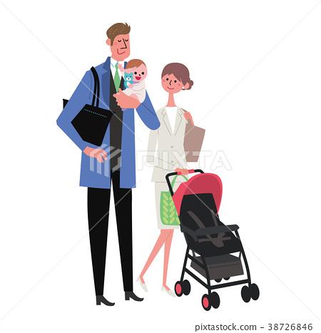 Parenting / working together couple illustration 38726846
