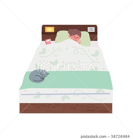 침대에서자는 여성 일러스트 38726984