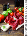 Dish of italian traditional bresaola with red wine 38727228